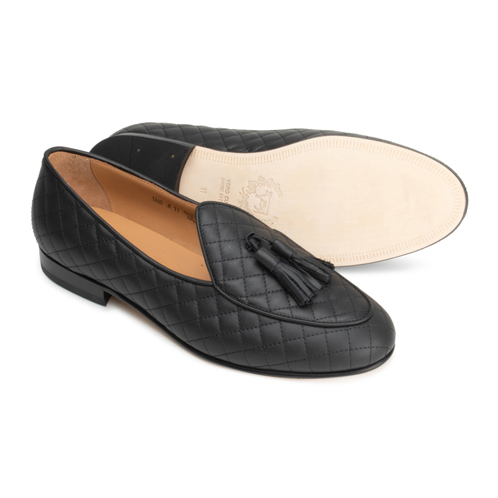 Black Quilted Nappa Italian Loafer with Black Tassel