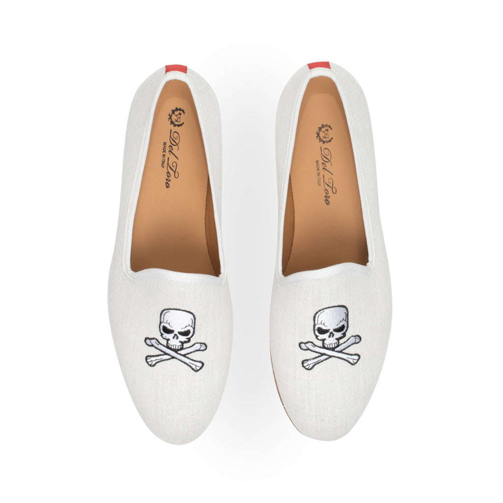 White Linen Slipper with Skull and Bone Embroidery