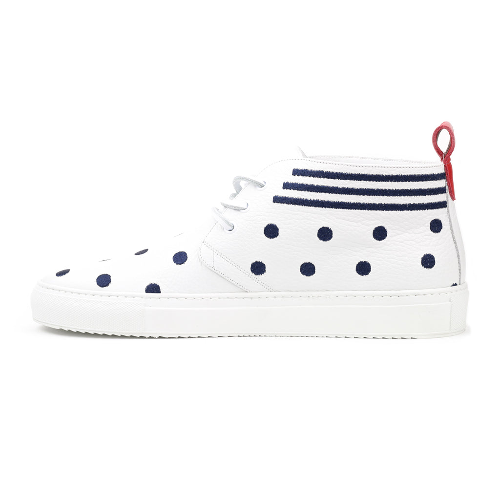 White Leather Chukka with Stripes and Polka Dots