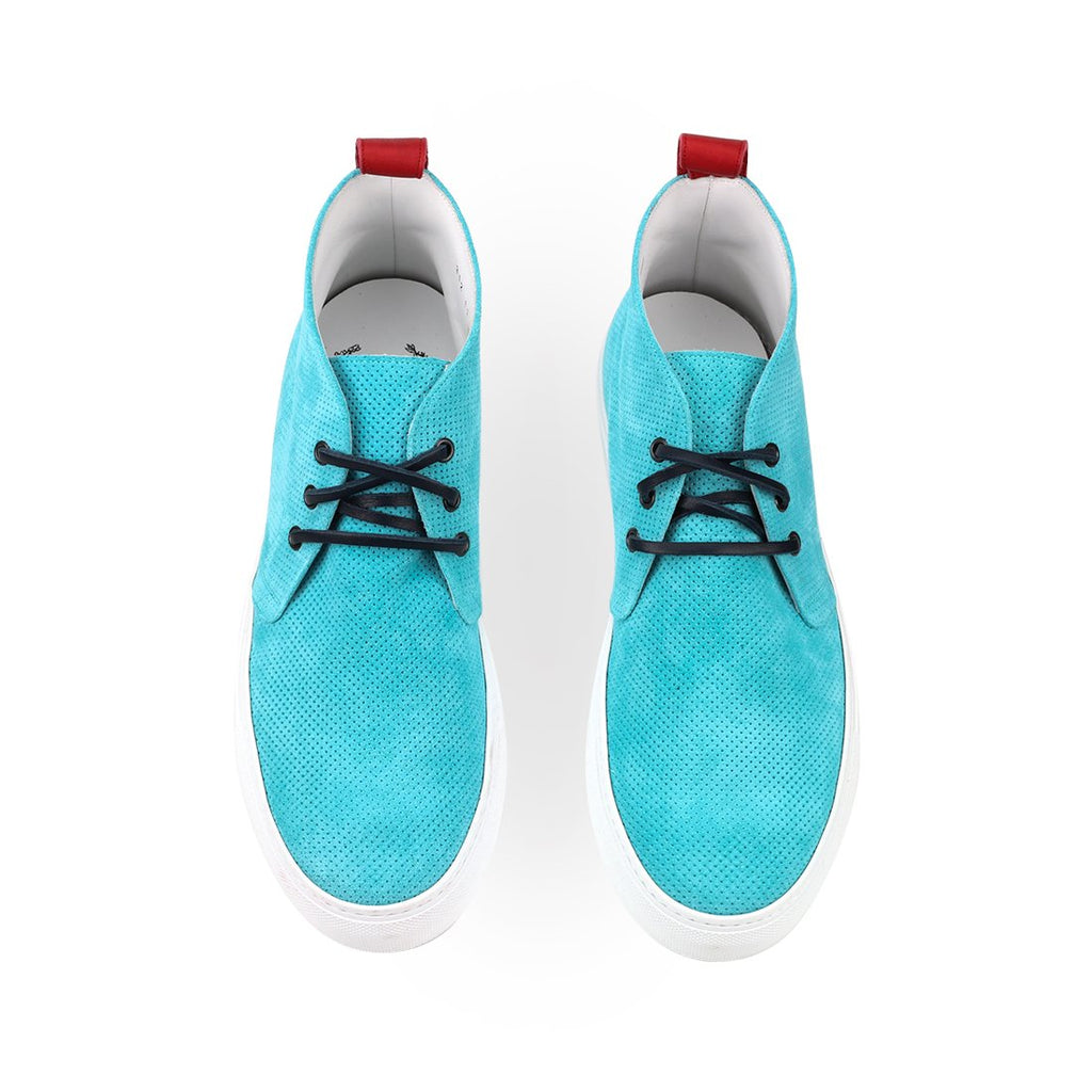 Turquoise Perforated Suede Chukka