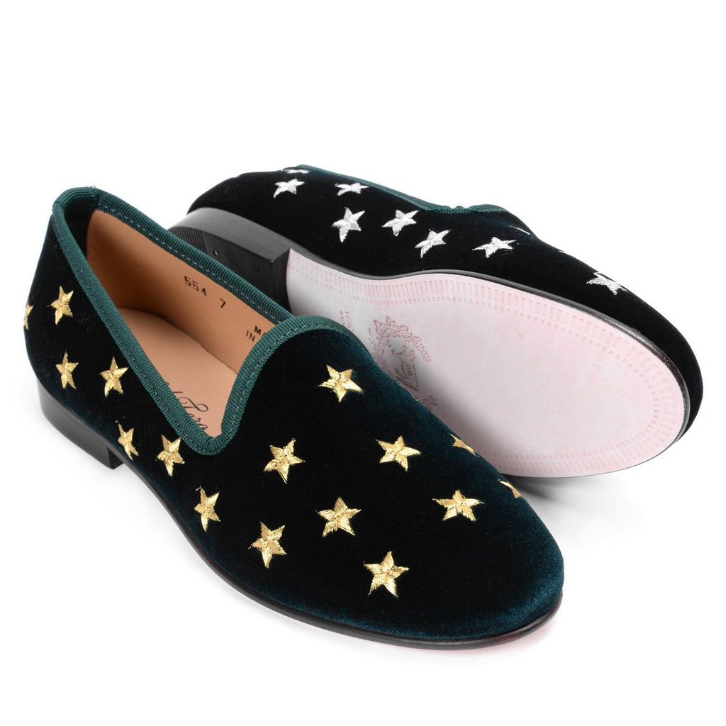 Women's Green Velvet Slippers With Gold And Silver Stars