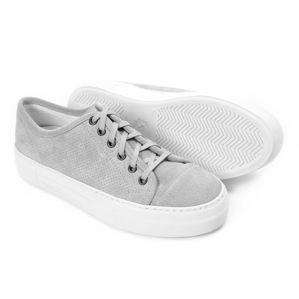 Women's Grey Perforated Suede Sardegna With Gioia Creeper Sole