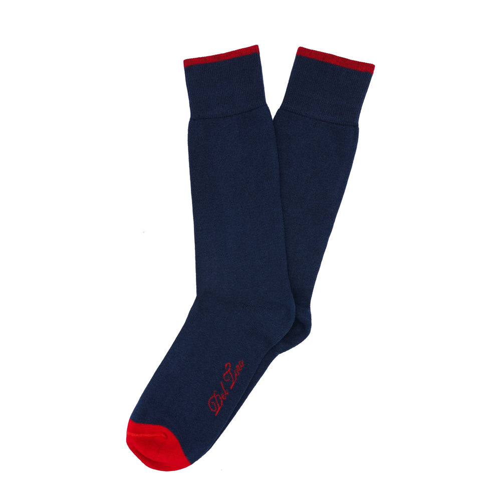 Dark Blue Pima Cotton-Blend Formal Sock