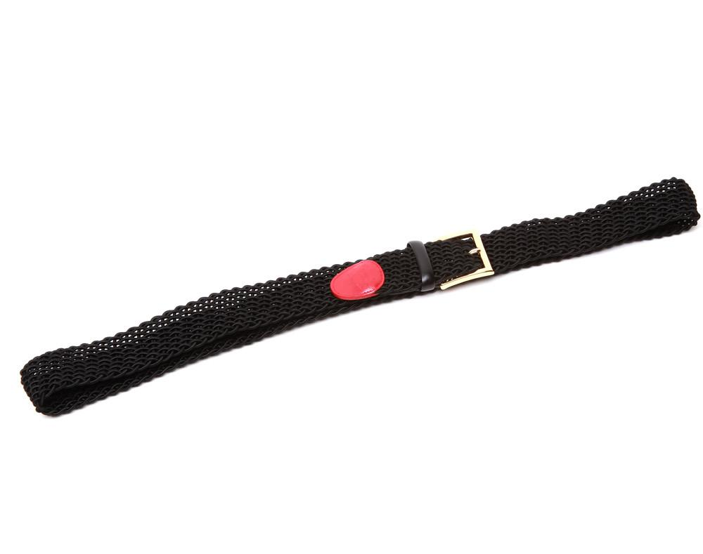 Accessories - Black Intrecciato Woven Belt