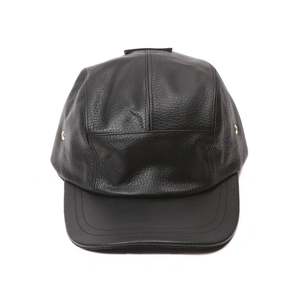 Accessories - Black Nappa Five Panel Cap With Navy Camo Underbill