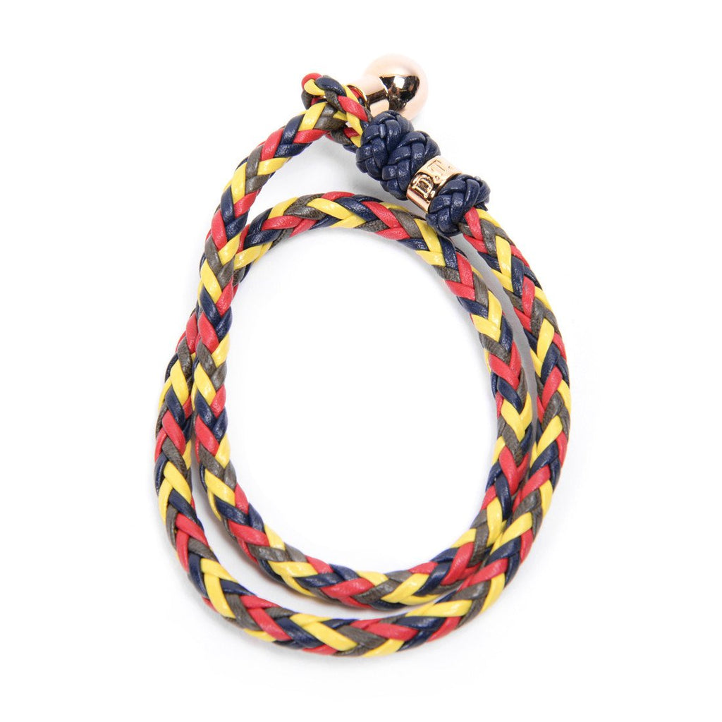 Accessories - DEL TORO MULTI-COLOR NAPPA LEATHER INTRECCIATO BRACELET