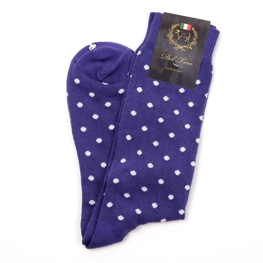 Del Toro Purple With White Polka Dot Socks