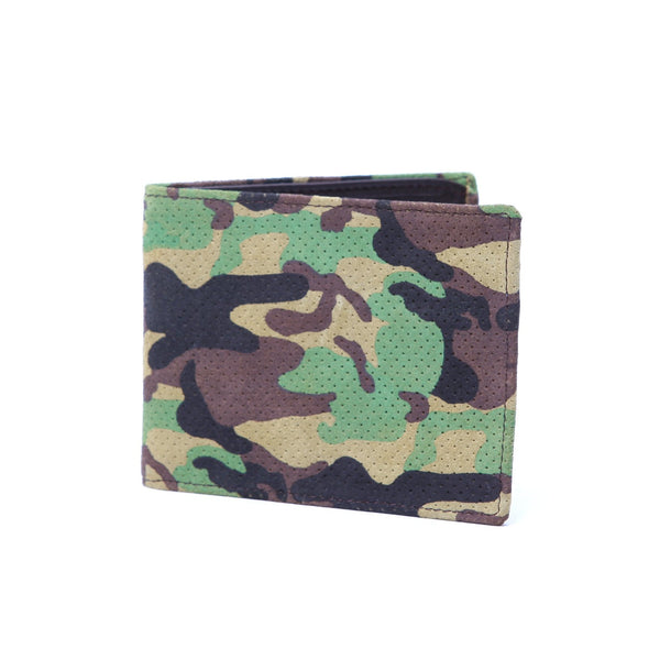 Accessories - Green Camo Perforated Suede Small Wallet