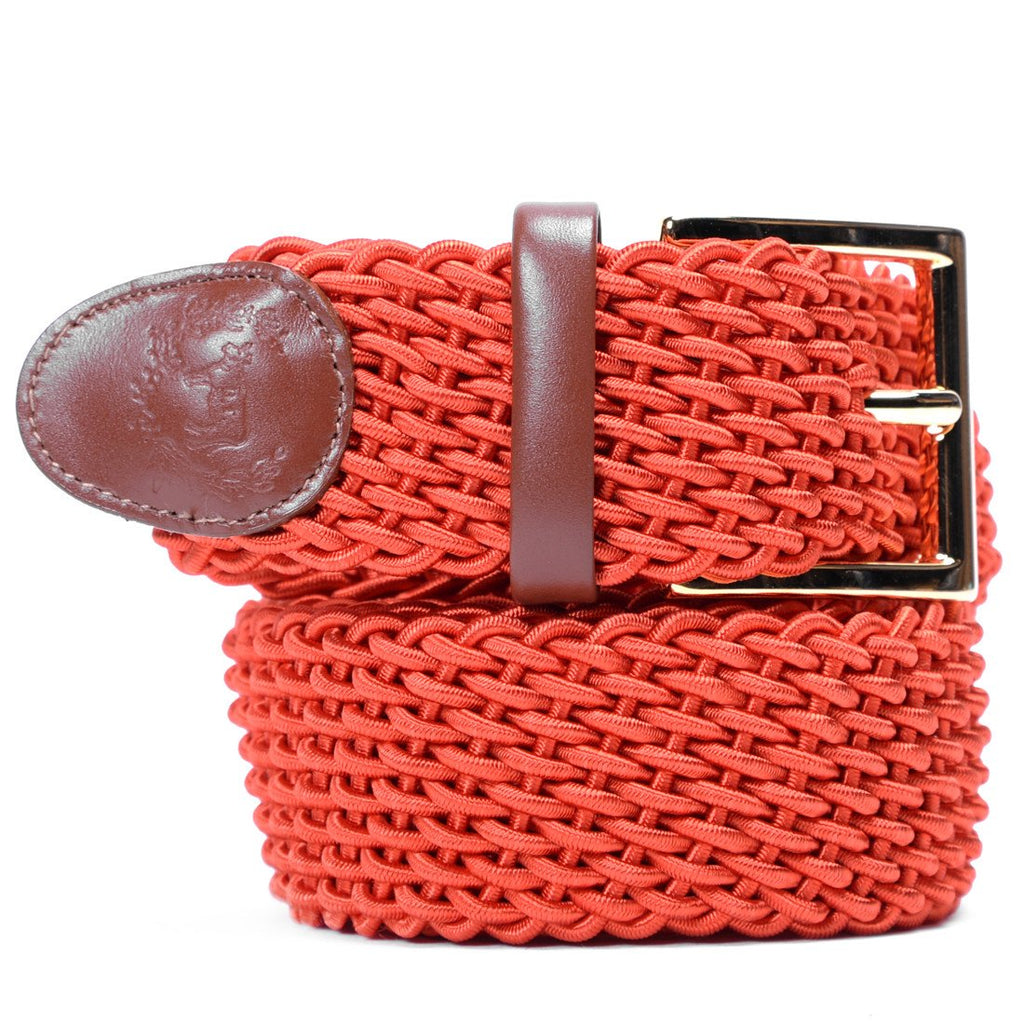 Accessories - Orange Intrecciato Woven Belt