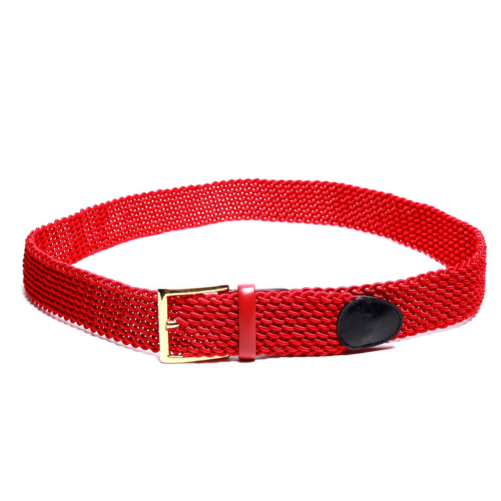 Accessories - Red Intrecciato Woven Belt