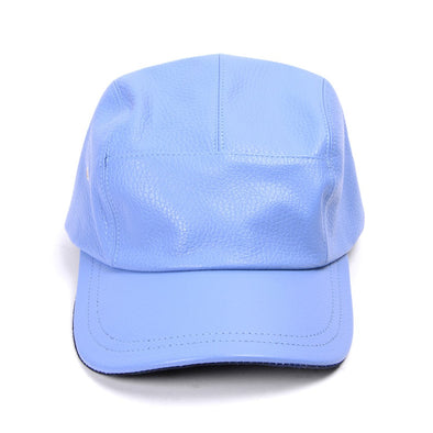 Accessories - Sky Blue Pebbled Leather Five Panel Cap With Navy Camo Underbill