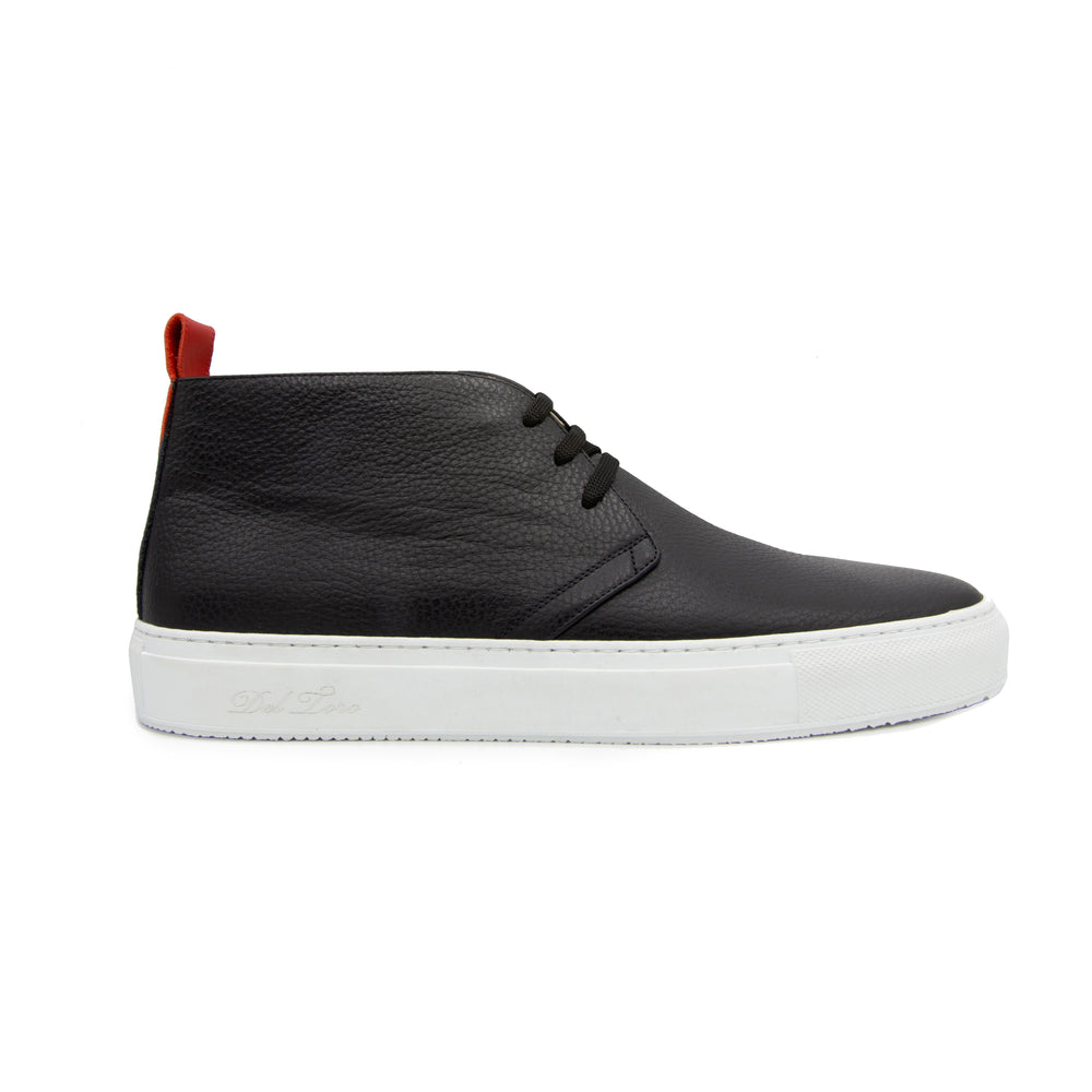 Men's Black Leather Chukka Sneaker
