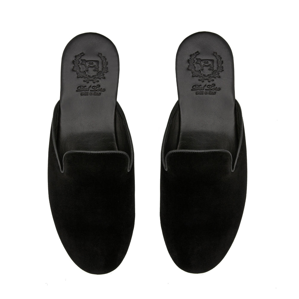 Men's Black Velvet House Slipper