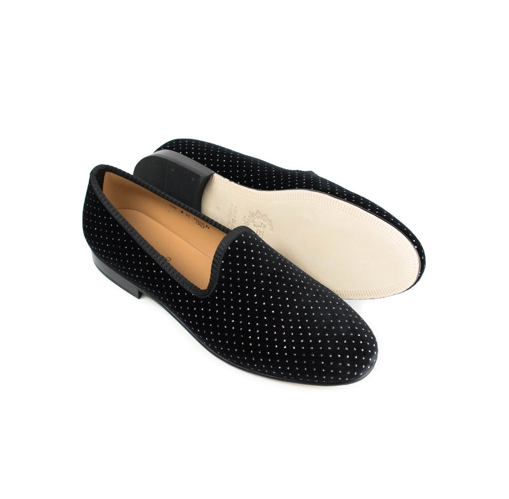 Black Velvet Slipper with Silver Polka Dots