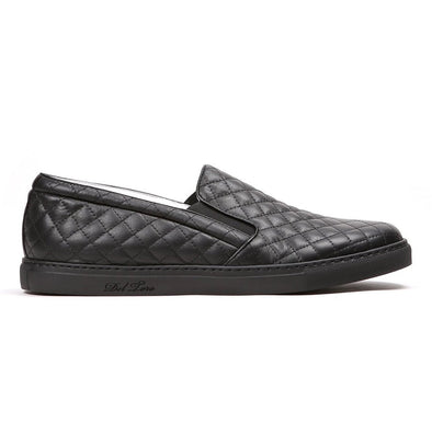 Black Quilted Slip On Sneaker
