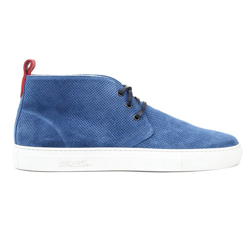 Blue Perforated Suede Chukka