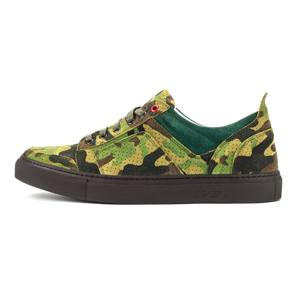 Green Perforated Suede Camo Torino Sneaker