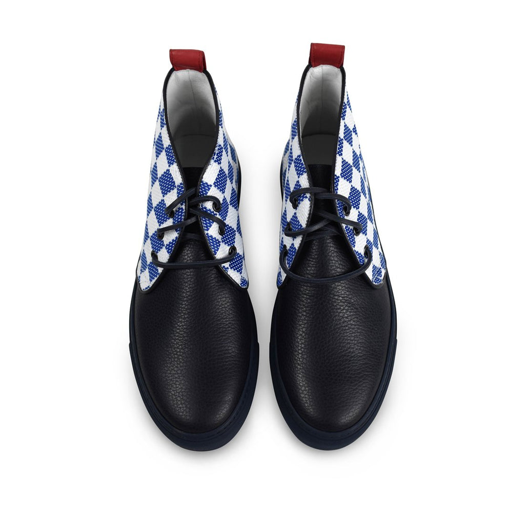 Navy & White Checker Chukka
