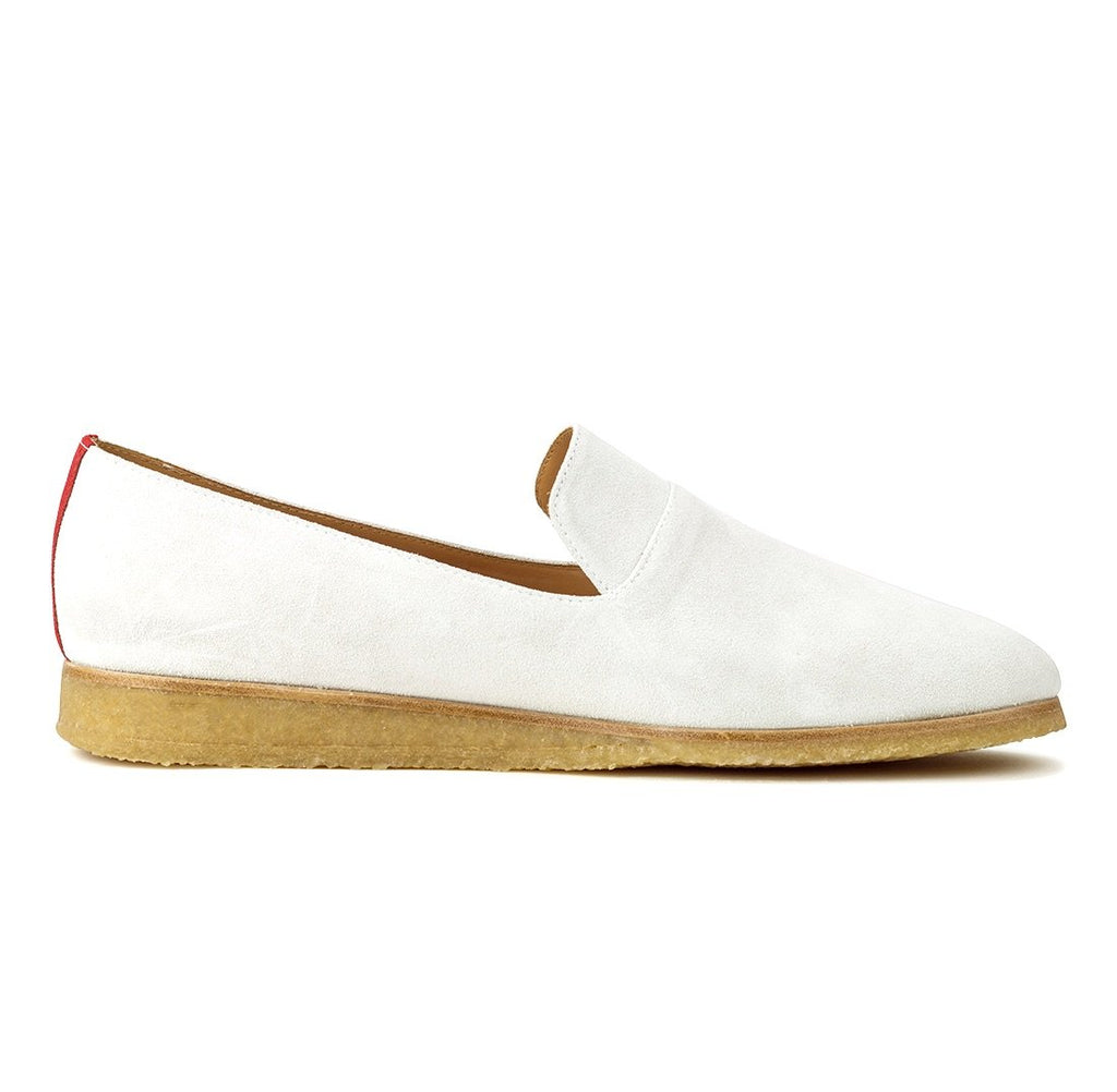 White Suede Everyday Loafer with Crepe Sole