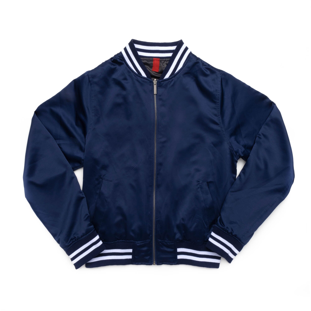 Unisex Reversible Satin Bomber (Blue/Brushed Metal)