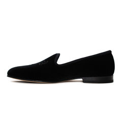 Men's Black Velvet Slipper II with Tonal Bull