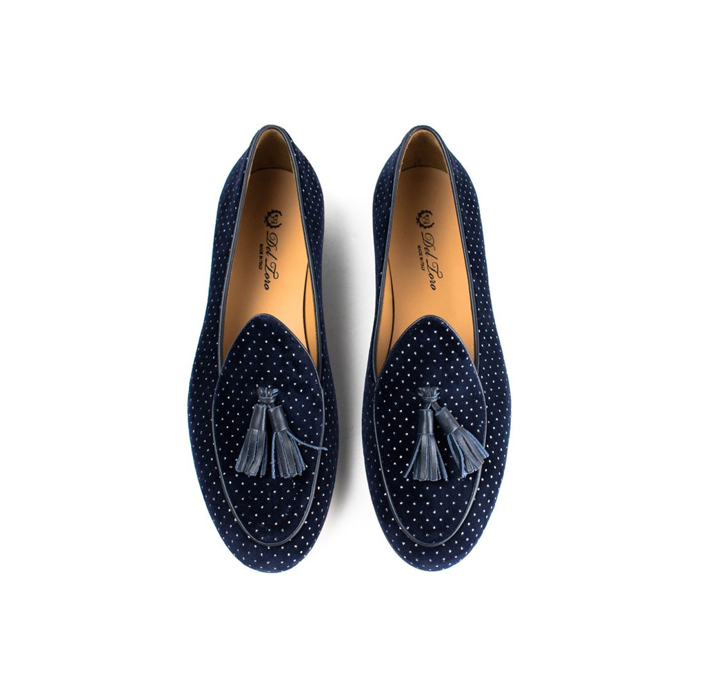 Navy Velvet Italian Loafer with Silver Polka Dots