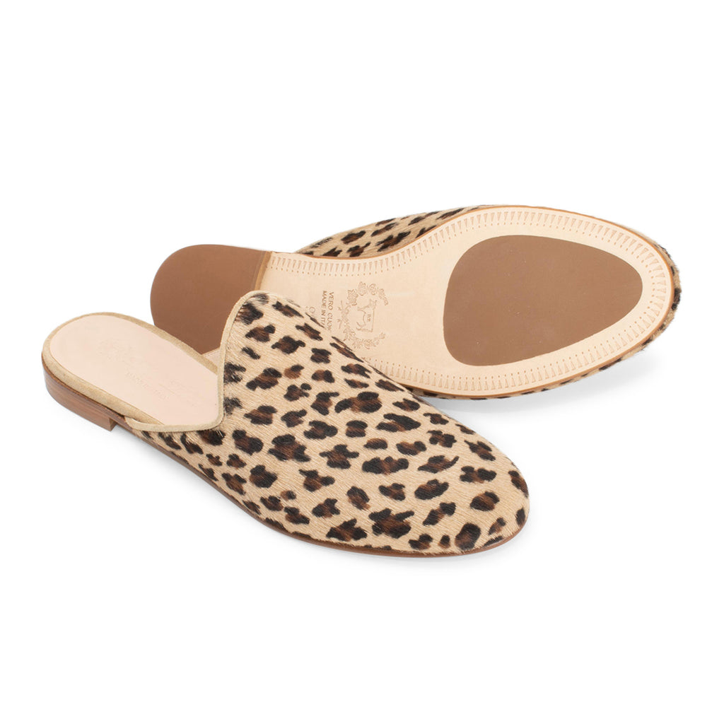 Women's Leopard Pony Hair Mule