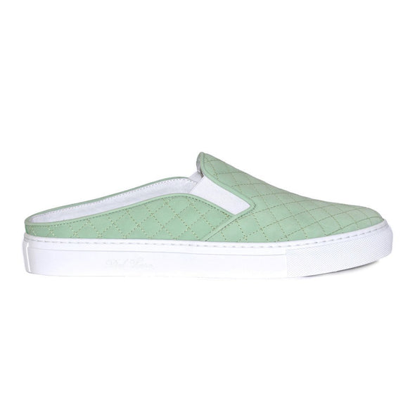 Men's Sneakers - Mint Green Quilted Babouche