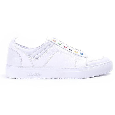 Women's White Bottalato Torino Sneaker With Rainbow Eyelets