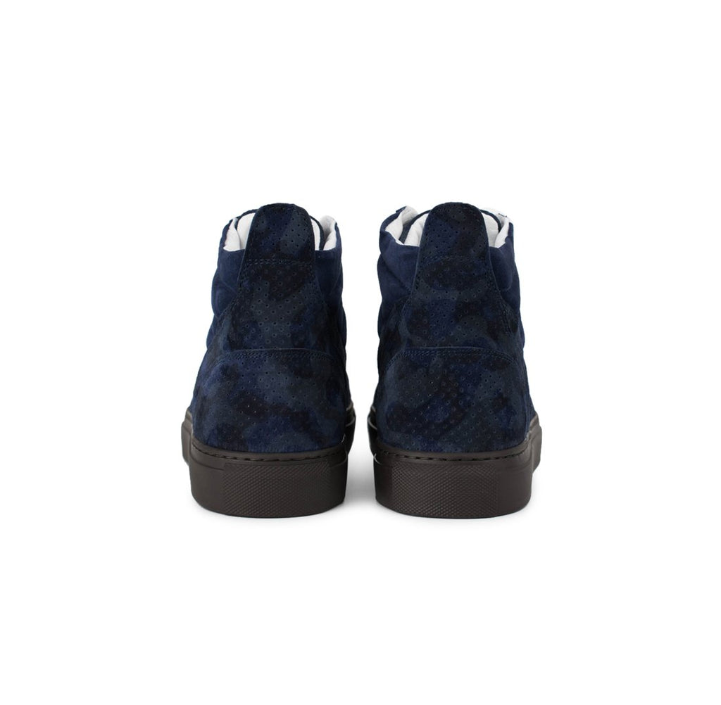 Navy Perforated Suede Camo Boxing Sneaker