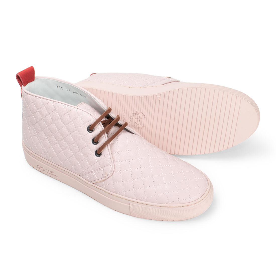 Pink Leather Quilted Chukka