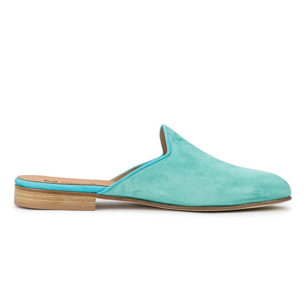 Turquoise Suede Mule