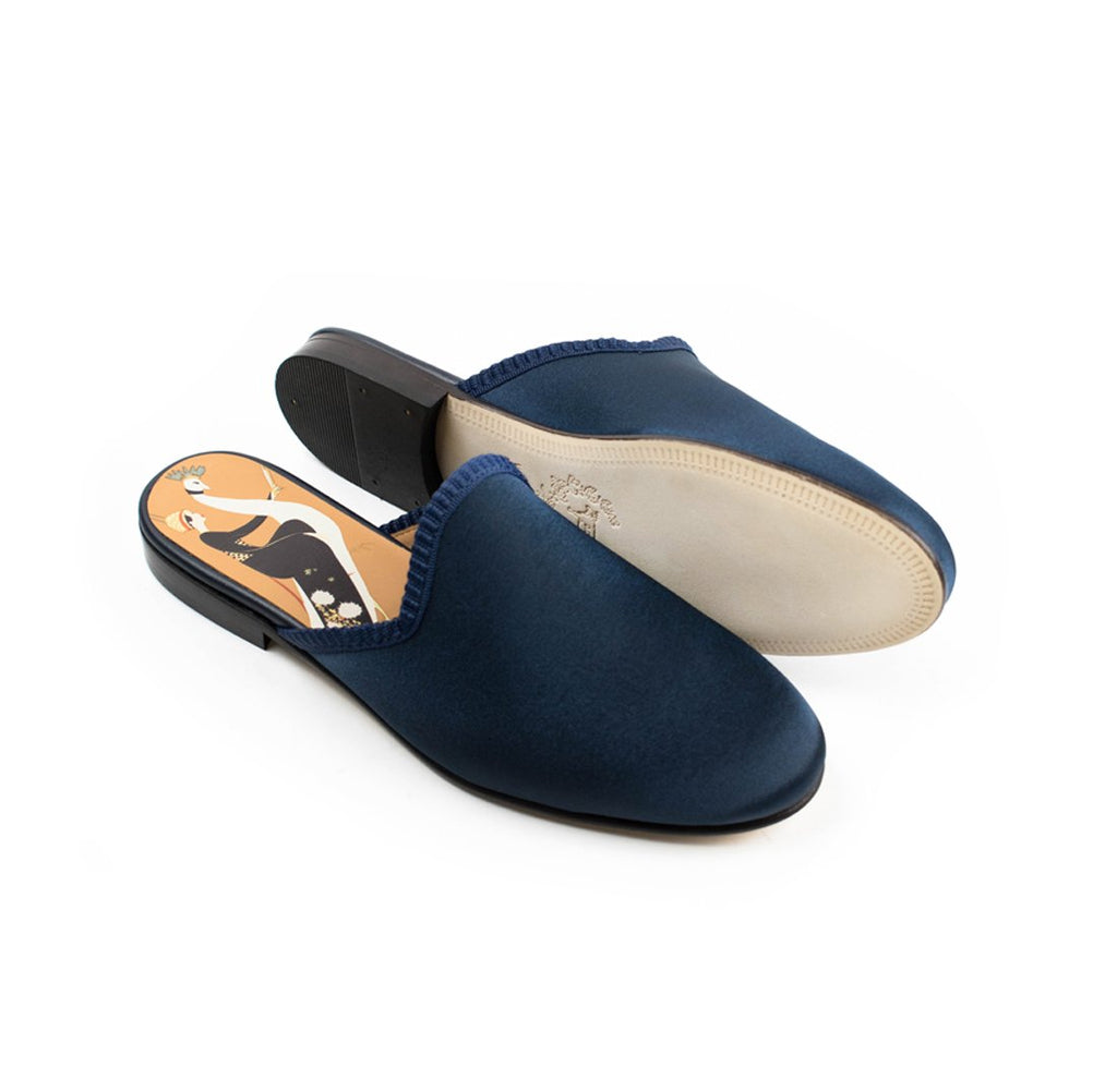 Women's Del Toro for Vogue 125 Navy Satin Mule
