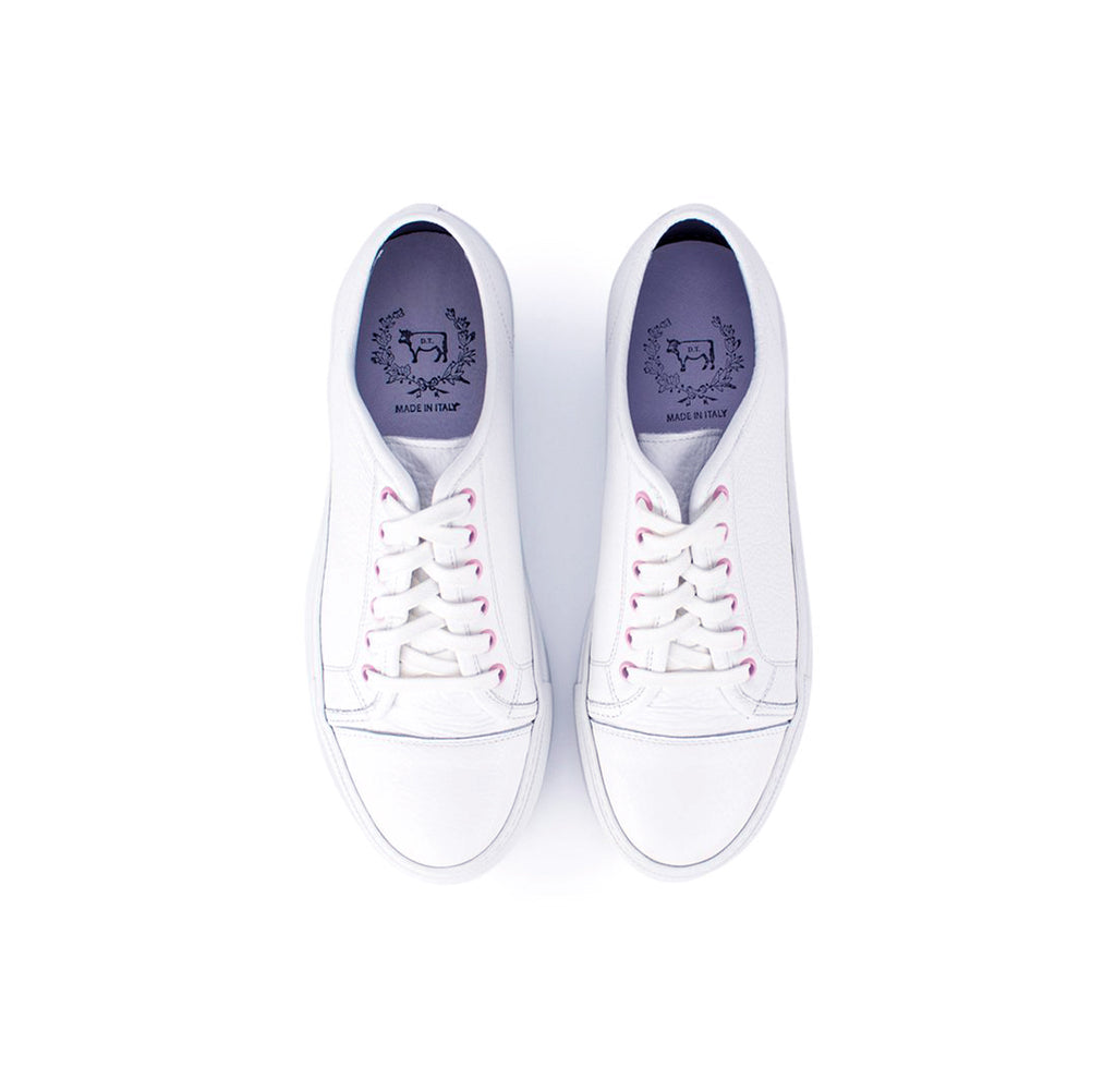 Women's White Bottalato Sardegna Sneaker with Pink Eyelets