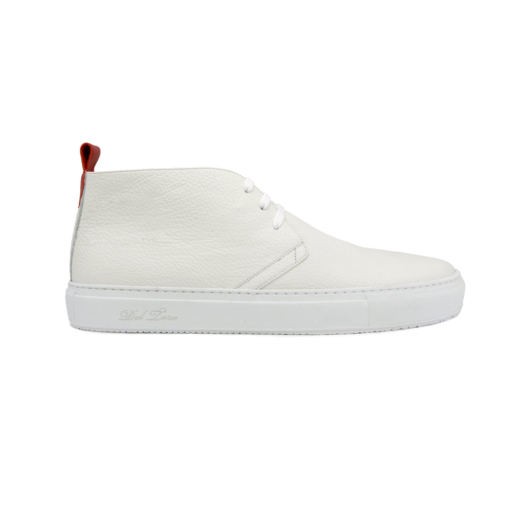 Men's White Leather Chukka Sneaker