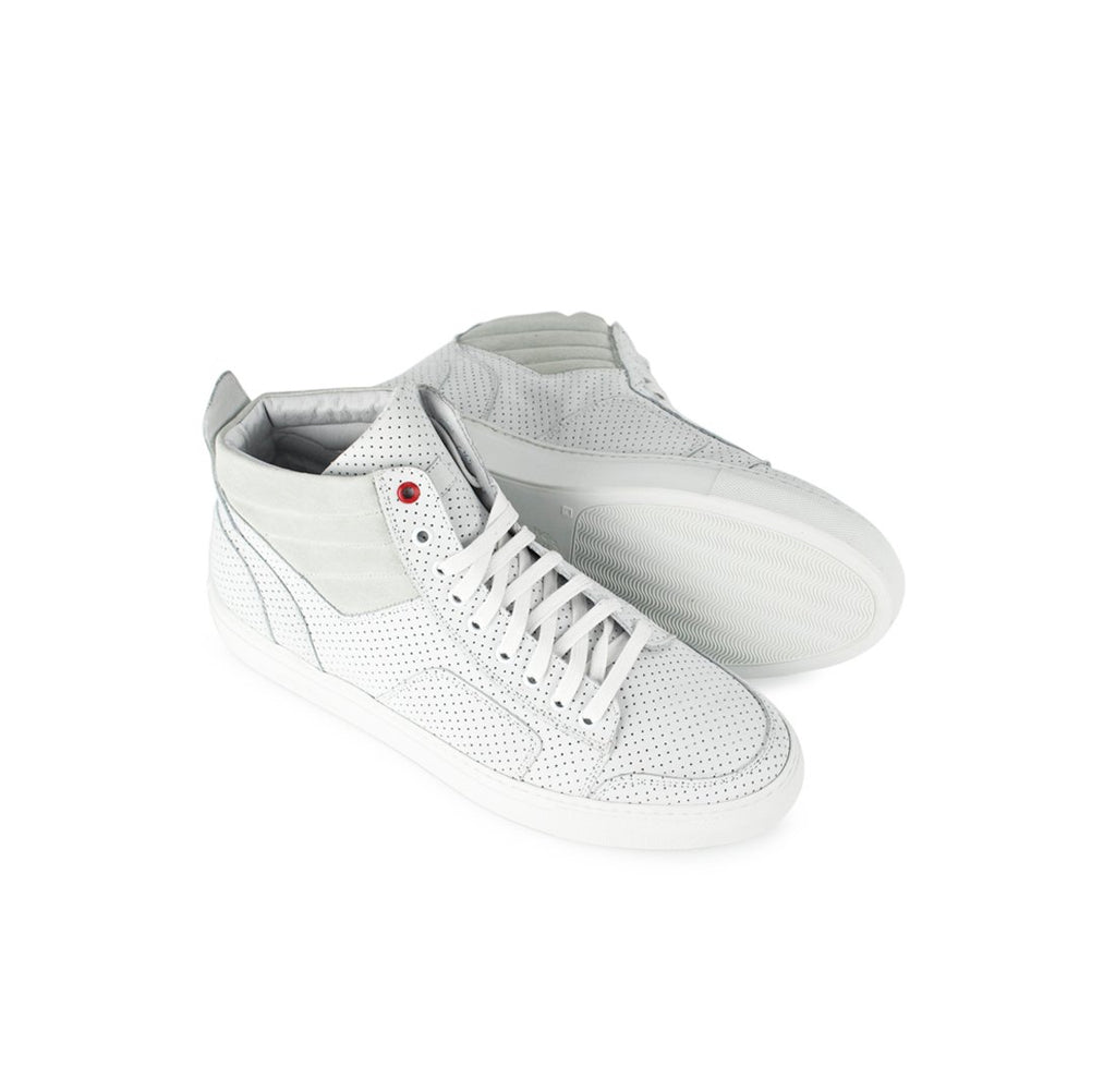 White Perforated Suede Boxing Sneaker