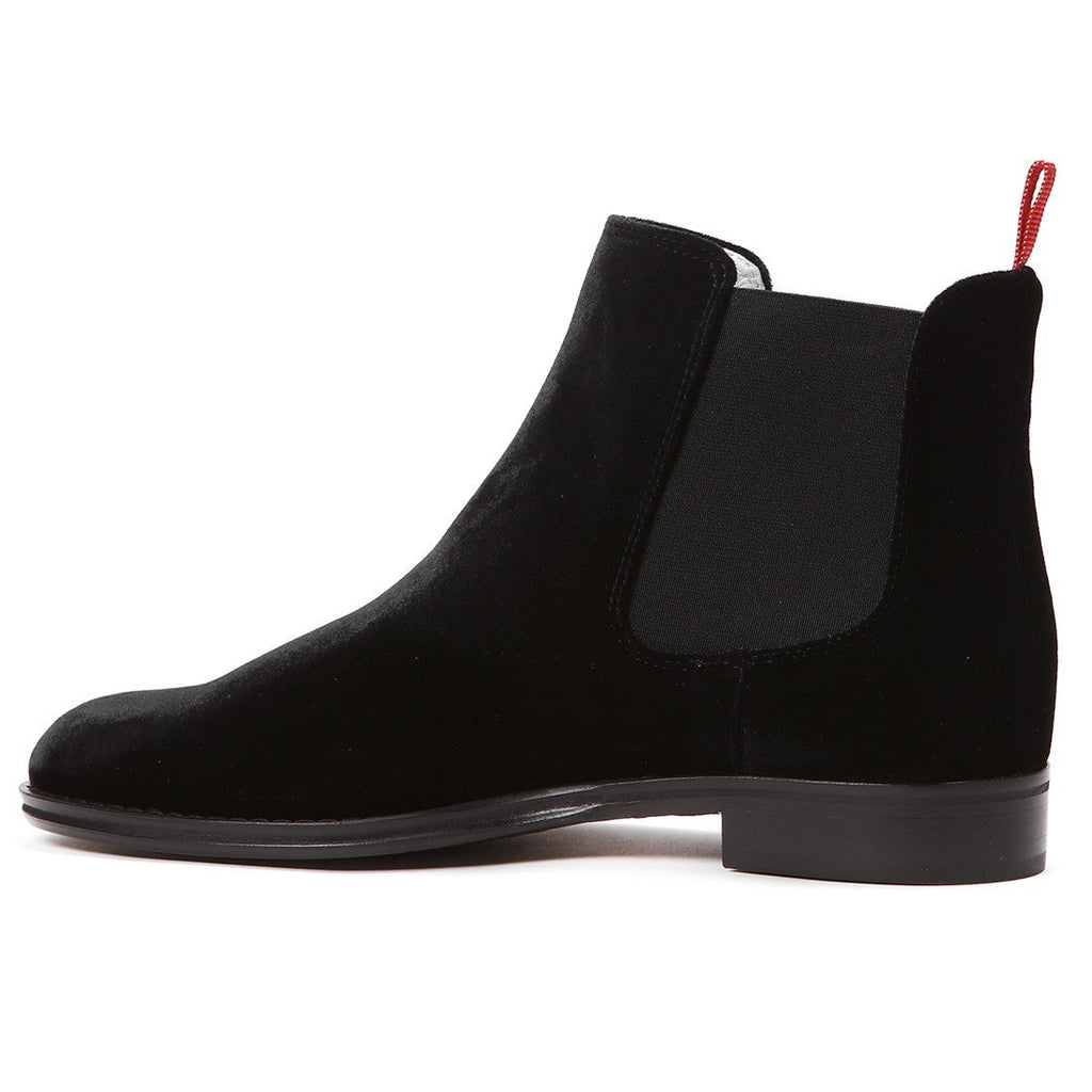 Women's Black Velvet Chelsea Boot