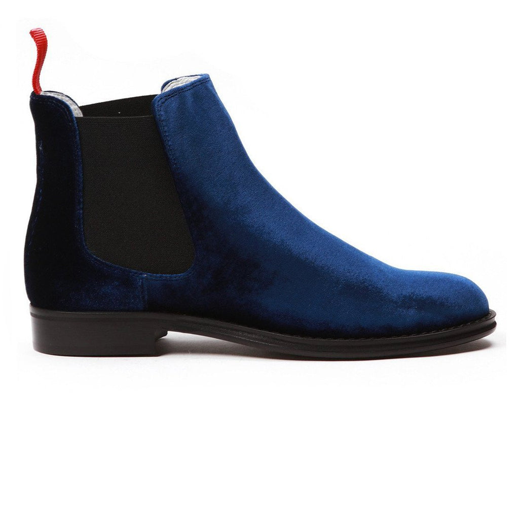 Women's Navy Velvet Chelsea Boot