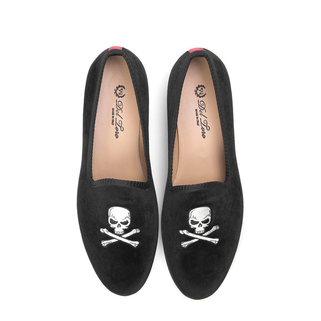 Women's Slippers - Women's Black Velvet Slipper With Skull & Bone