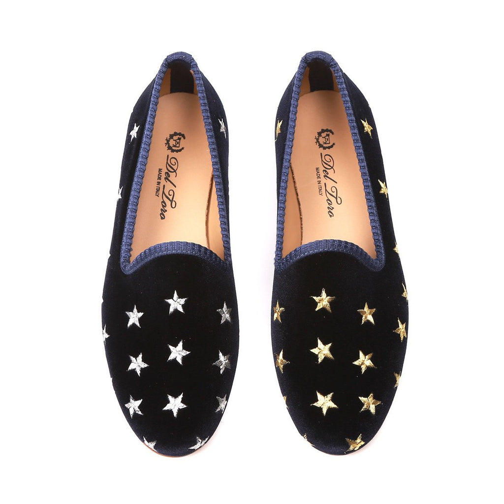 Women's Slippers - Women's Navy Velvet Gold & Silver Star Slipper
