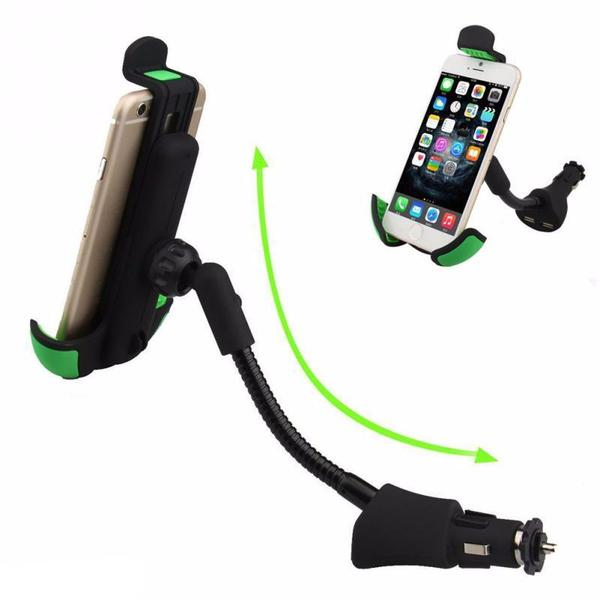 Chargeur de voiture universel + 2 ports USB + Support smartphone