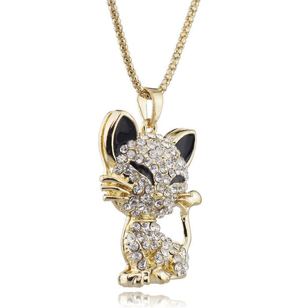 Collier + pendentif chat en strass