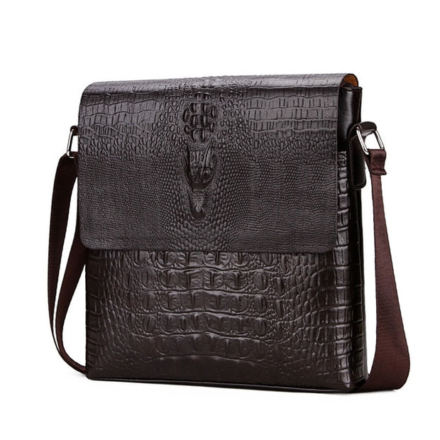 LovingBag Luxury® - Sac Homme Effet Crocodile Marron