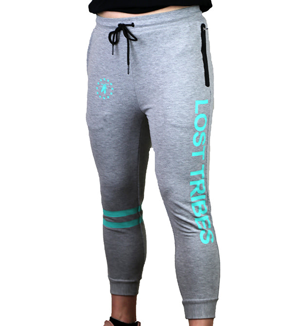 Fitted 3/4 Superstar Joggers - Grey and Teal