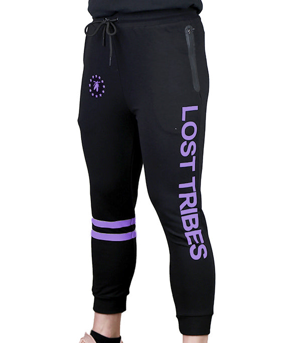 Fitted 3/4 Superstar Joggers - Black and Lavender