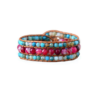 Pink Agate & Turquoise Bracelet