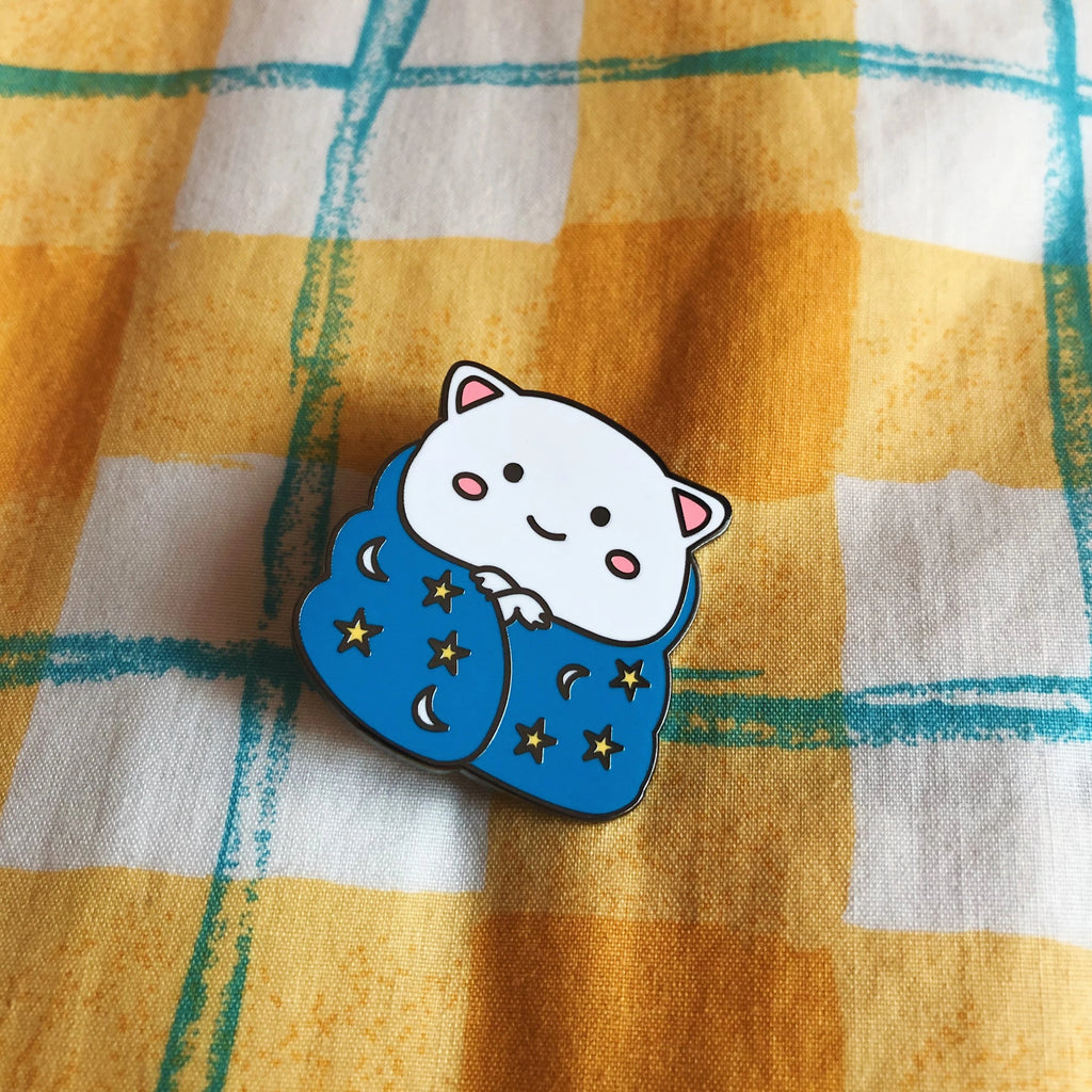 Mochi Cat in a Blanket Enamel Pin