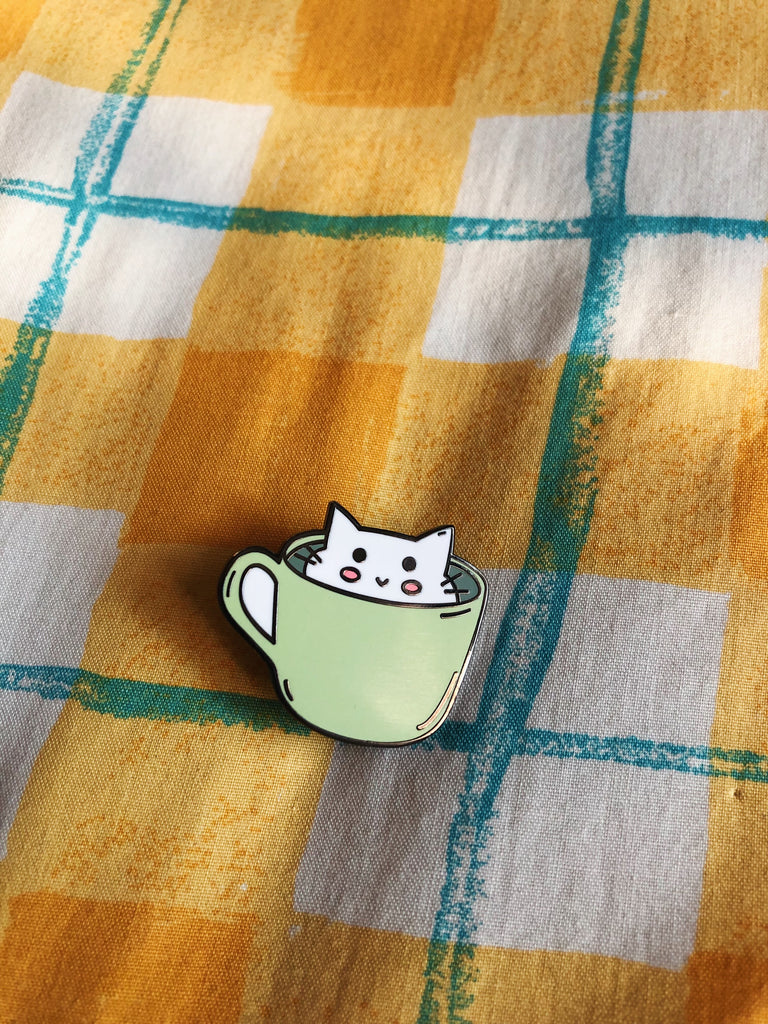 Kitty Cat in a Cup Enamel Pin