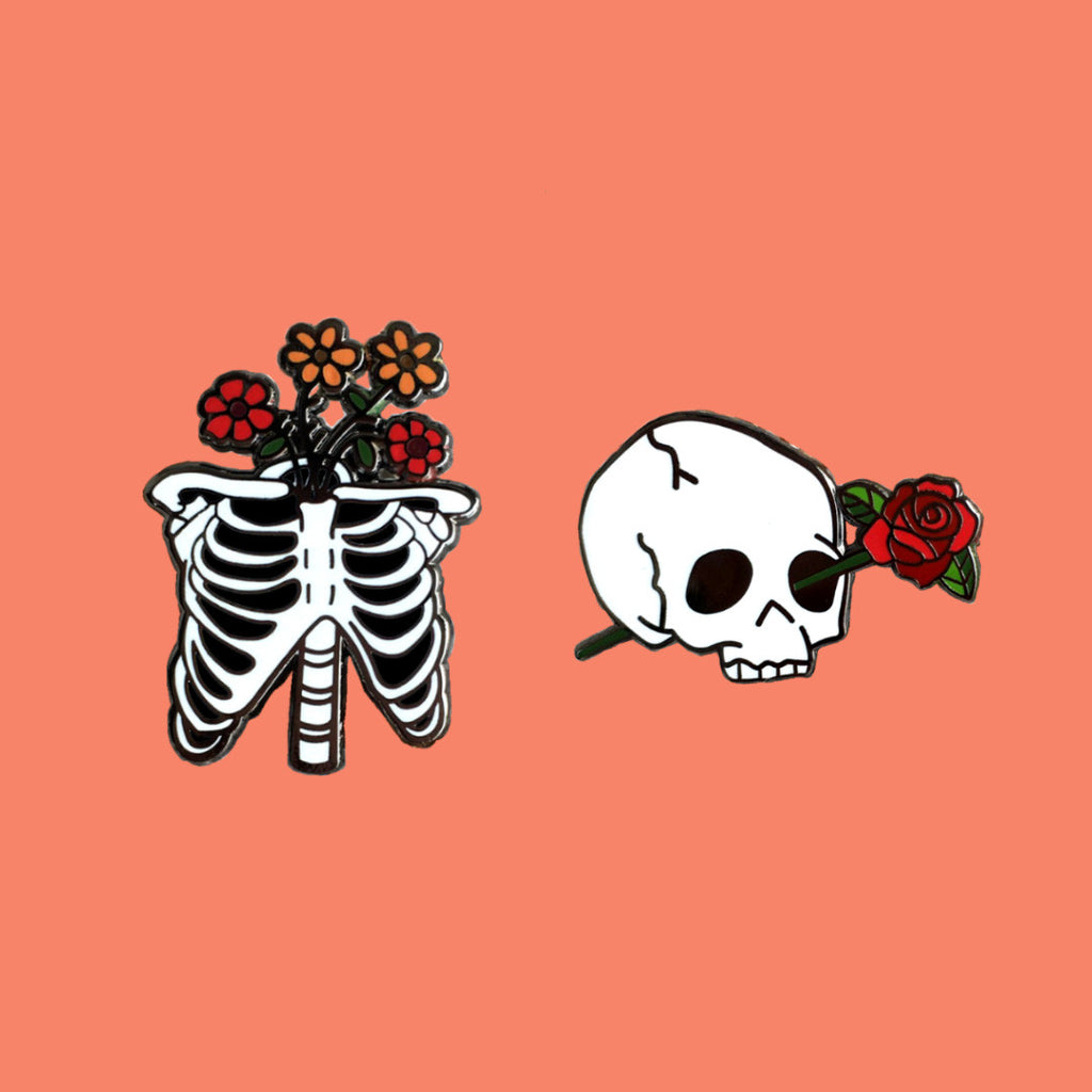 Skeleton Enamel Pin Set of 2