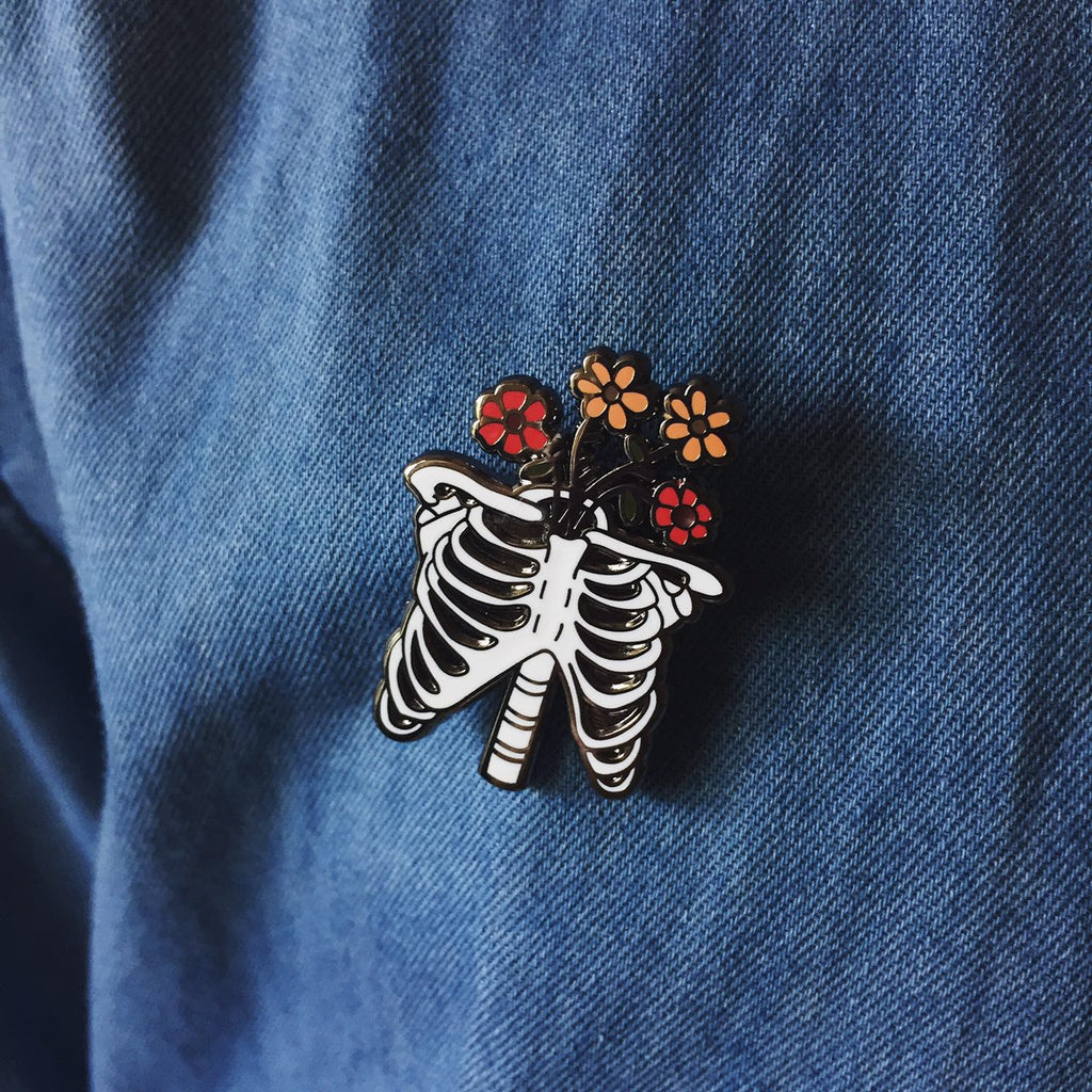 Ribs with Flowers Hard Enamel Pin